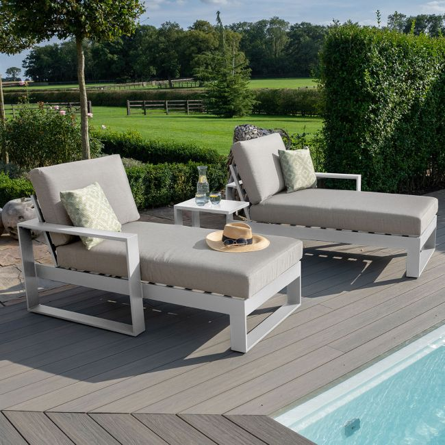 Maze - Amalfi Double Sunlounger with Side Table - White