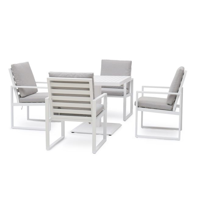 Maze - Amalfi 4 Seat Square Dining Set - With Rising Table - White