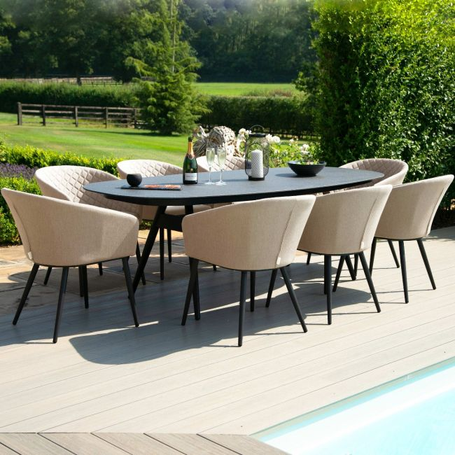 Maze Lounge - Outdoor Fabric Ambition 8 Seat Oval Dining Set - Taupe