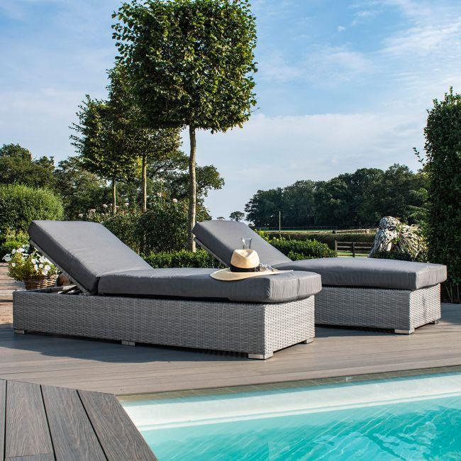 Maze Rattan - Ascot Sun Lounger Set - With Weatherproof Cushions