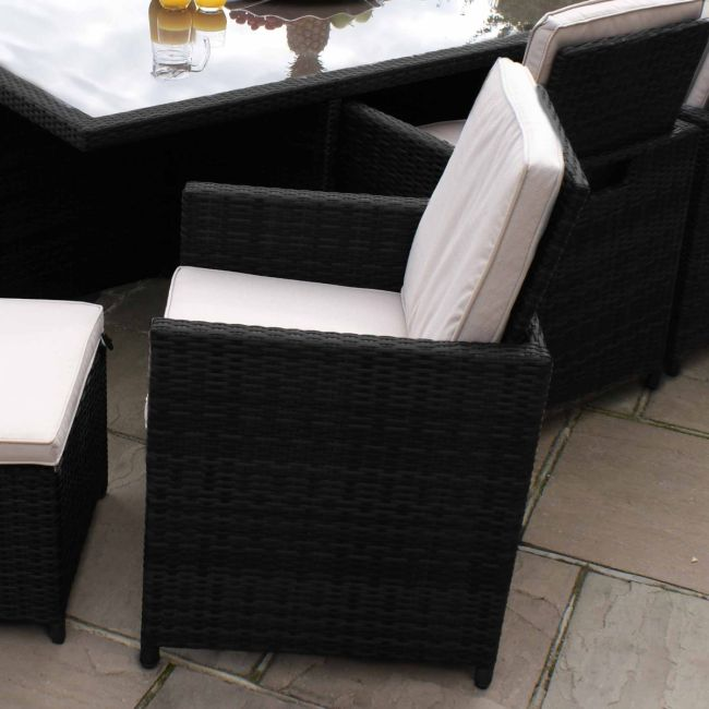 Maze Rattan - Pair of Black Rattan Cube Chairs - No Footstools
