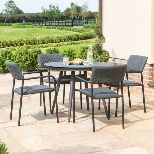 Maze Lounge - Outdoor Fabric Bliss 4 Seat Round Dining Set - Charcoal
