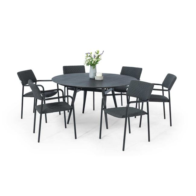 Maze Lounge - Outdoor Fabric Bliss 6 Seat Round Dining Set - Charcoal