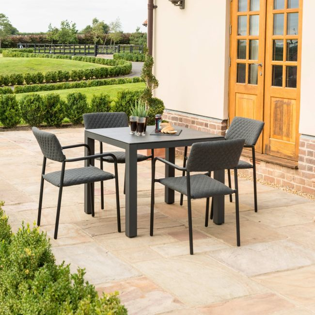 Maze Lounge - Outdoor Fabric Bliss 4 Seat Square Dining Set - Charcoal