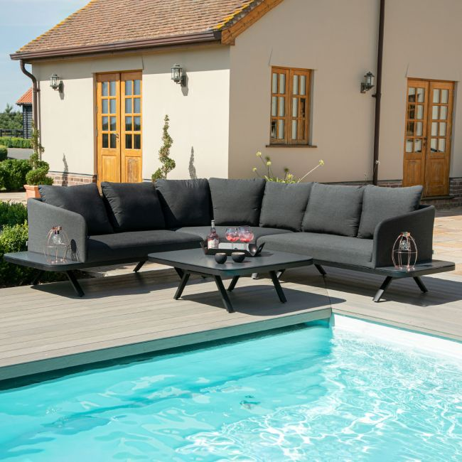 Maze Lounge - Outdoor Fabric Cove Corner Sofa Group - Charcoal