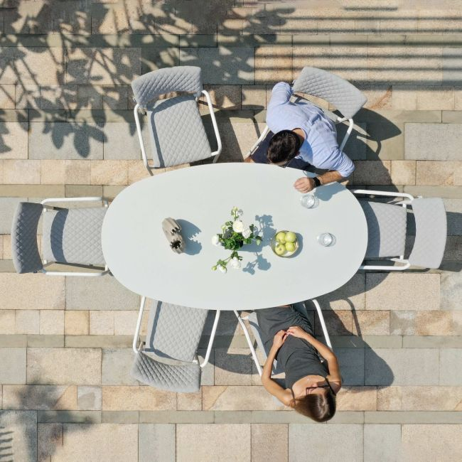 Maze Lounge - Outdoor Fabric Bliss 6 Seat Oval Dining Set - Lead Chine