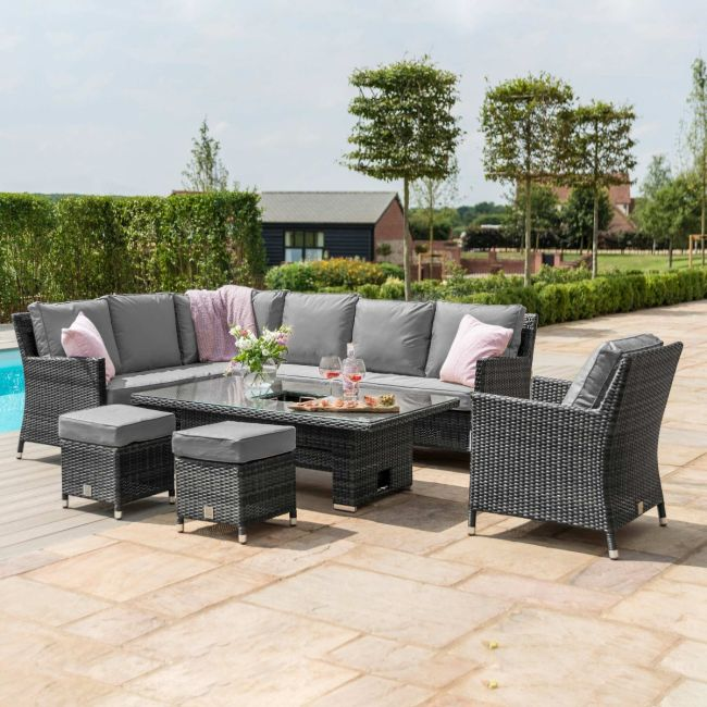 Maze Rattan - Venice Corner Sofa Dining Set - With Ice Bucket & Rising Table - With Armchair - Grey