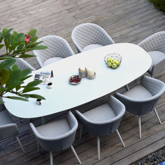 Maze Lounge - Outdoor Fabric Ambition 8 Seat Oval Dining Set - Lead Chine