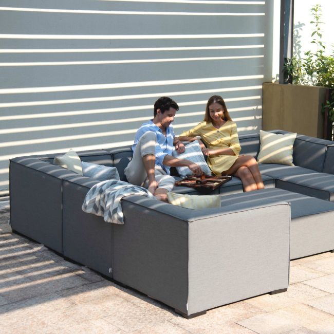 Maze Lounge - Outdoor Fabric Large Apollo Corner Sofa Group - Flanelle
