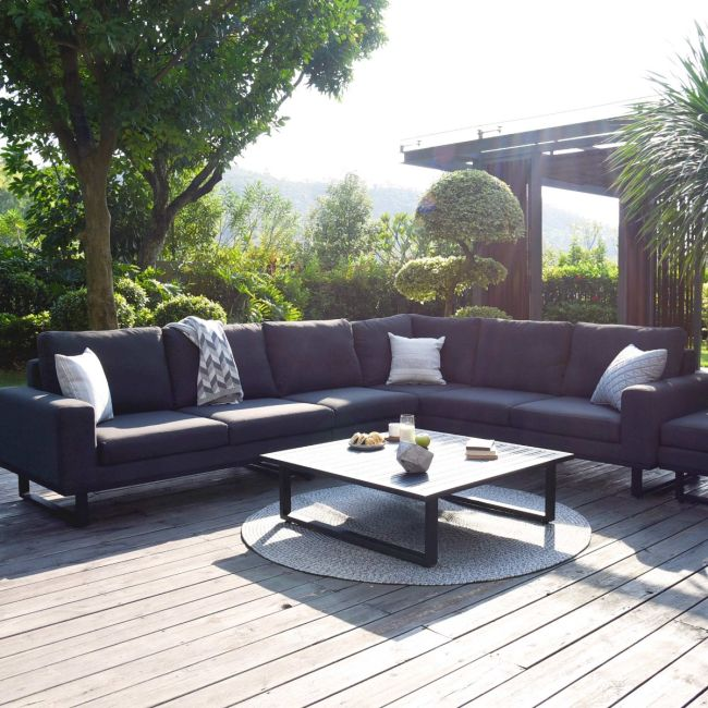 Maze Lounge - Outdoor Fabric Ethos Large Corner Group - Charcoal