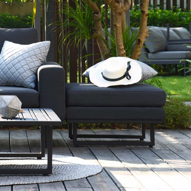 Maze Lounge - Outdoor Fabric Ethos Footstool - Charcoal