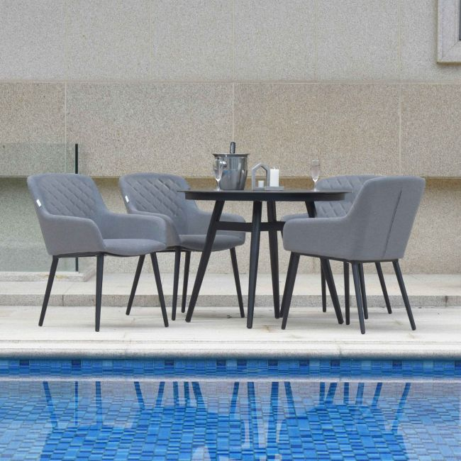 Maze Lounge - Outdoor Fabric Zest 4 Seat  Round Dining Set - Flanelle