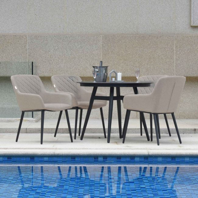 Maze Lounge - Outdoor Fabric Zest 4 Seat  Round Dining Set - Taupe