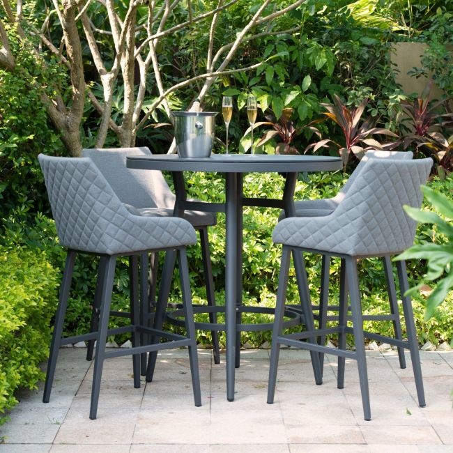 Maze Lounge - Outdoor Fabric Regal 4 Seat Round Bar Set - Flanelle