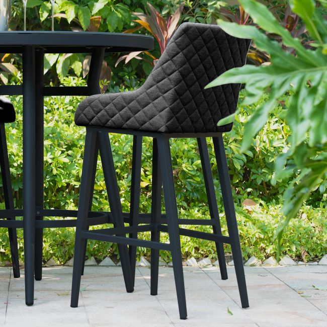 Maze Lounge - Outdoor Fabric Regal 4 Seat Round Bar Set - Charcoal