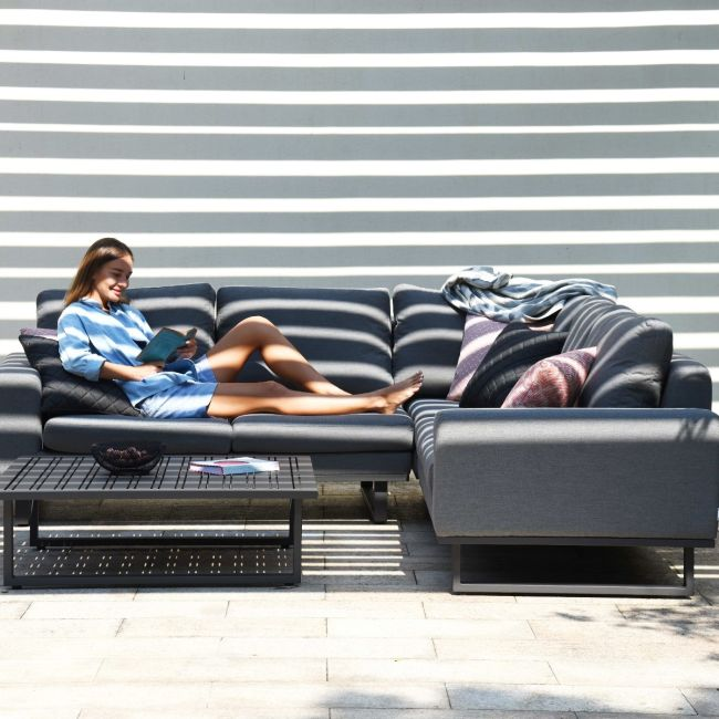 Maze Lounge - Outdoor Fabric Ethos Corner Group - Flanelle