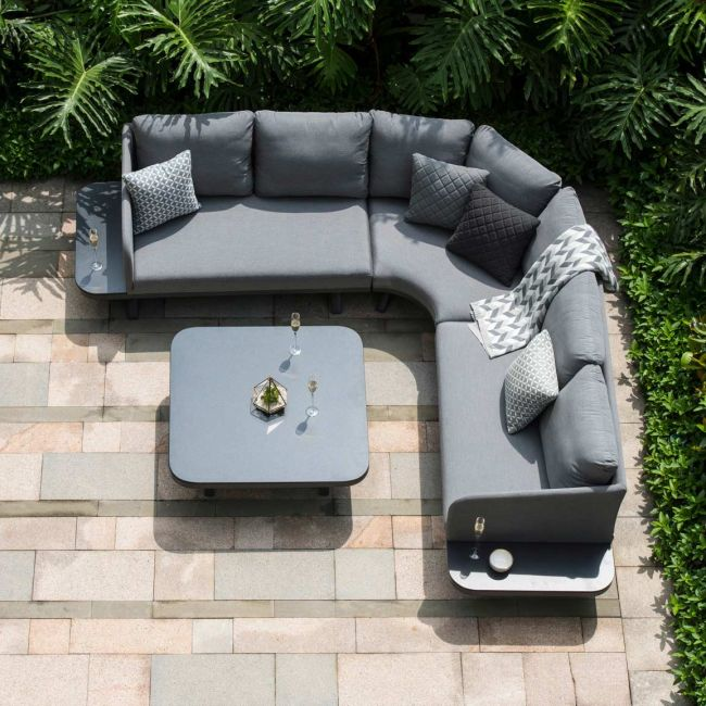 Maze Lounge - Outdoor Fabric Cove Corner Sofa Group - Flanelle
