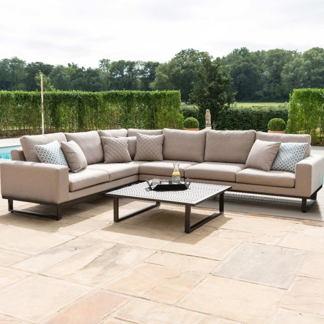 Maze Lounge - Outdoor Fabric Ethos Large Corner Group - Taupe