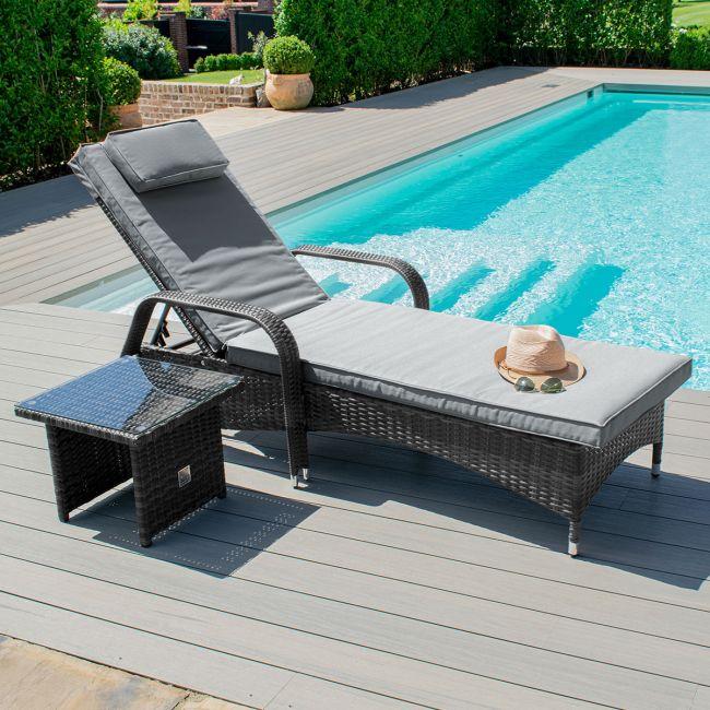 Maze Rattan - Florida Sunlounger Set - Grey