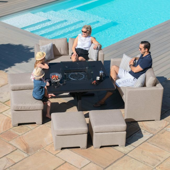 Maze Lounge - Outdoor Fabric Fuzion Cube Sofa Set - With Fire pit - Taupe