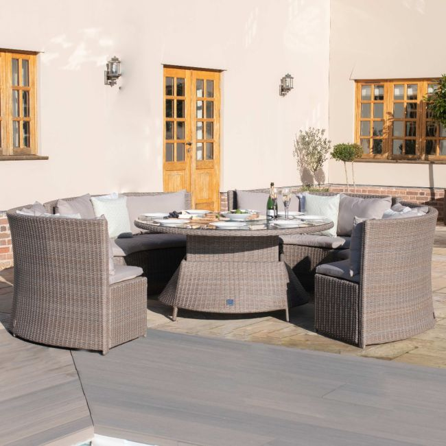 Maze Rattan - Harrogate Round Sofa Dining Set - With Rising Table & Weatherproof Cushions