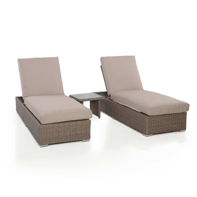 Maze Rattan - Harrogate Sun Lounger Set - With Weatherproof Cushions