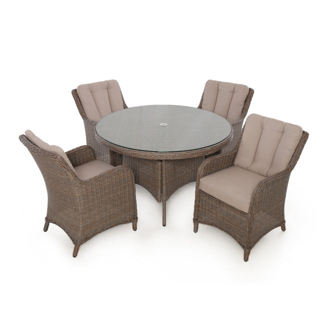 Maze Rattan - Harrogate 4 Seat Round Dining Set - With Weatherproof Cushions