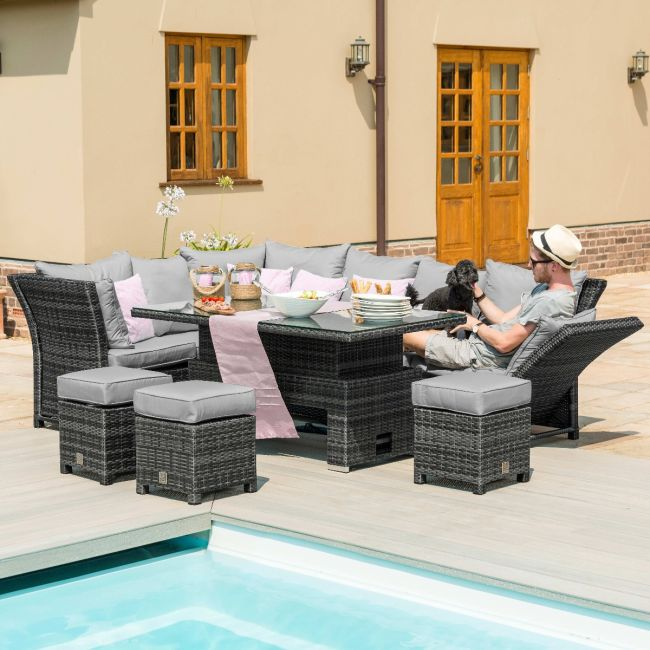 Maze Rattan - Henley Corner Dining Set - With Rising Table - Grey