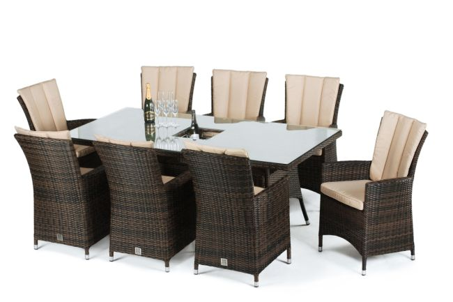 Maze Rattan - LA 8 Seat Rectangular Dining Set - With Ice Bucket - Brown