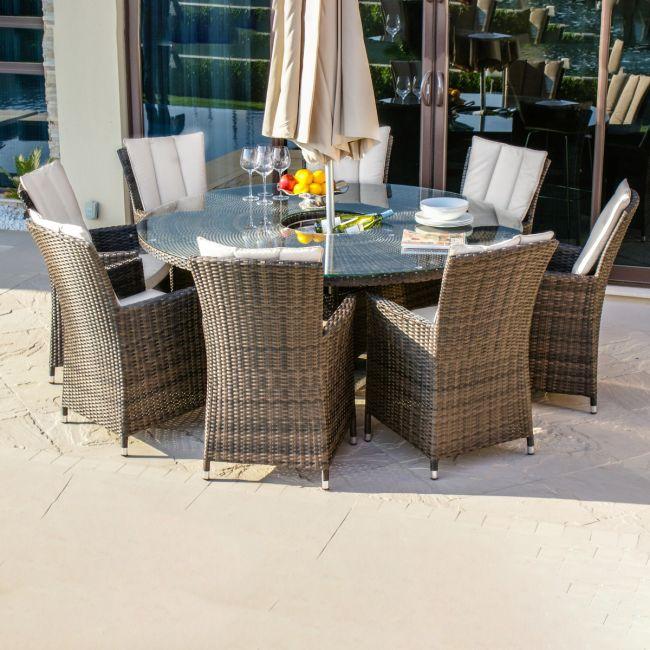 Maze Rattan - LA 8 Seat Round Dining Set - With Ice Bucket & Lazy Susan
