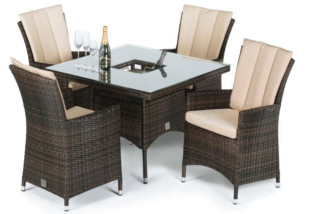 Maze Rattan - LA 4 Seat Square Dining Set - With Ice Bucket - Brown