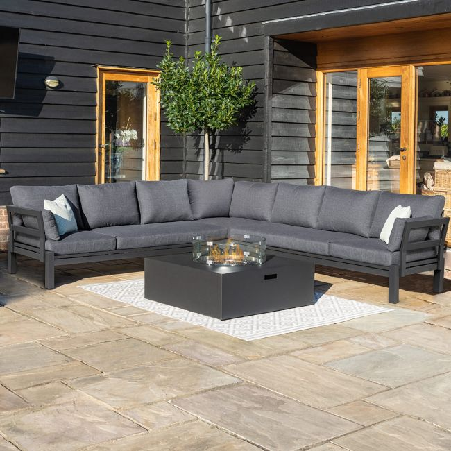 Maze - Oslo Large Corner Group - With Square Gas Firepit Table