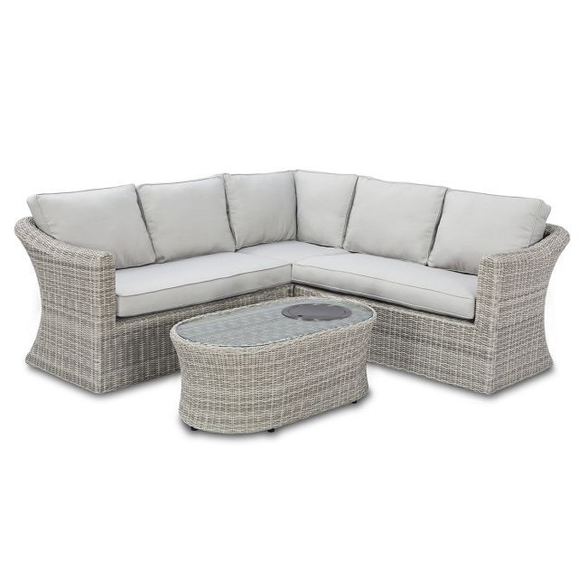 Maze Rattan - Oxford Small Corner Group - With Fire Pit Table