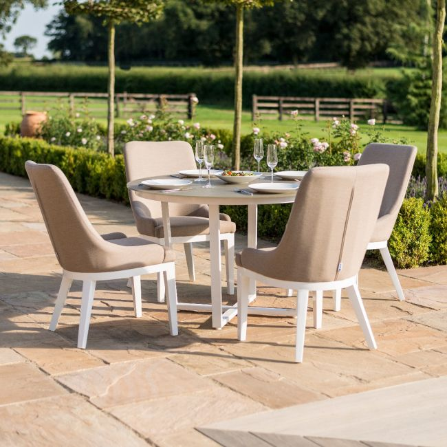 Maze Lounge - Outdoor Fabric Pacific 4 Seat Round Dining Set - Taupe