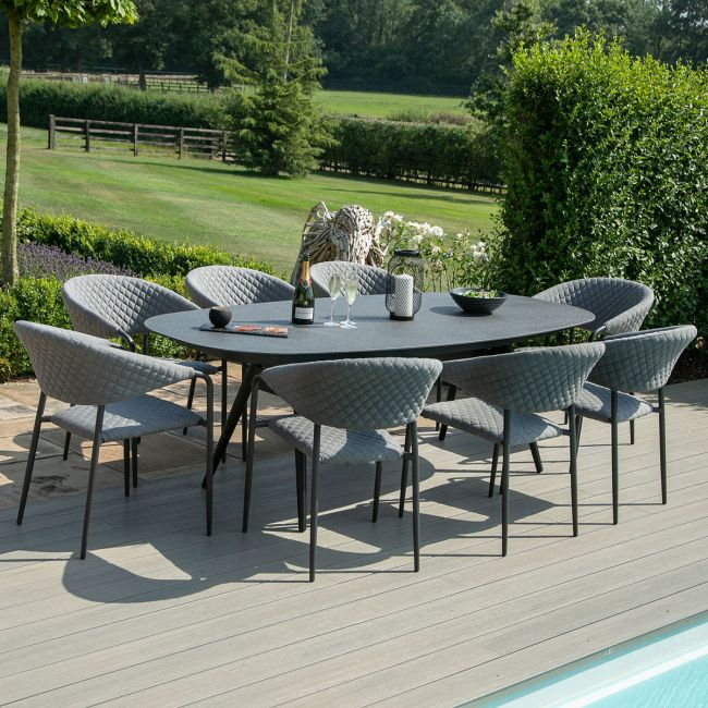 Maze Lounge - Outdoor Fabric Pebble 8 Seat Oval Dining Set - Flanelle