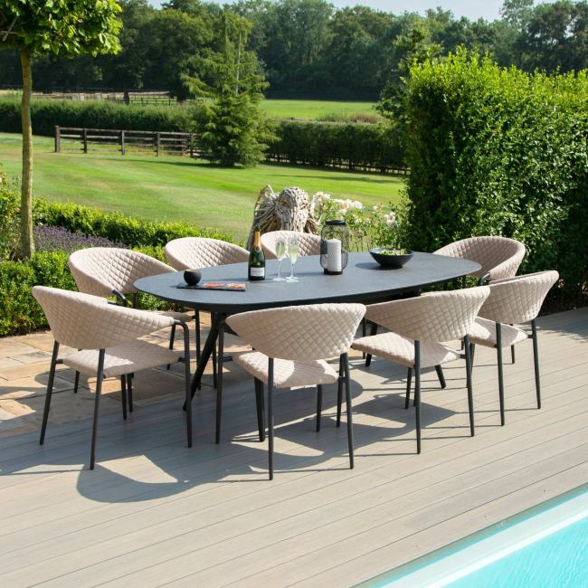 Maze Lounge - Outdoor Fabric Pebble 8 Seat Oval Dining Set - Taupe