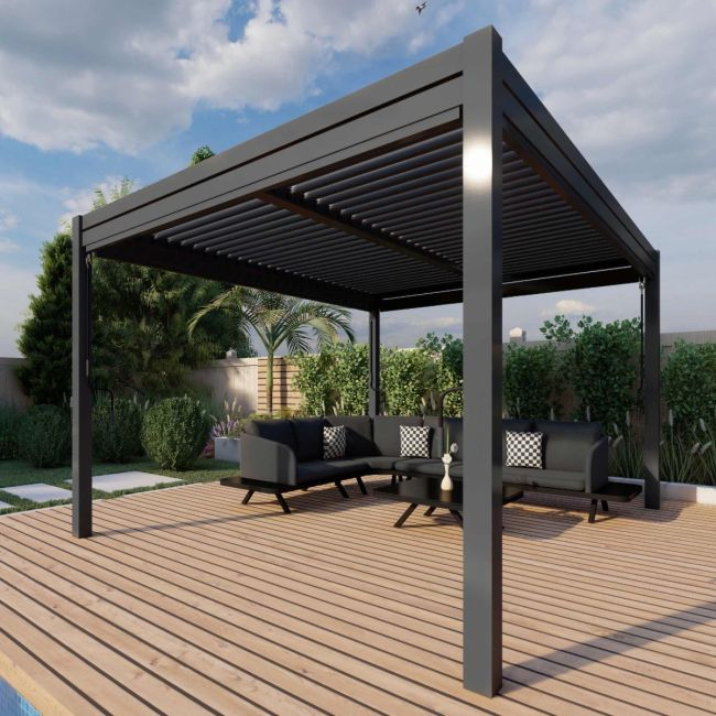 Maze - 3m x 3m Pergola - With 4 Drop Sides & LED Lighting - Grey