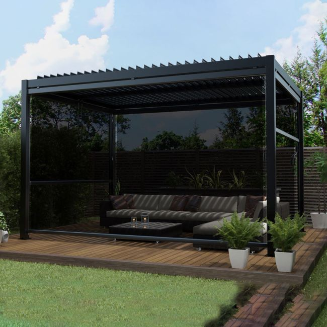 Maze - 3m x 4m Pergola - With 4 Drop Sides & LED Lighting - Grey