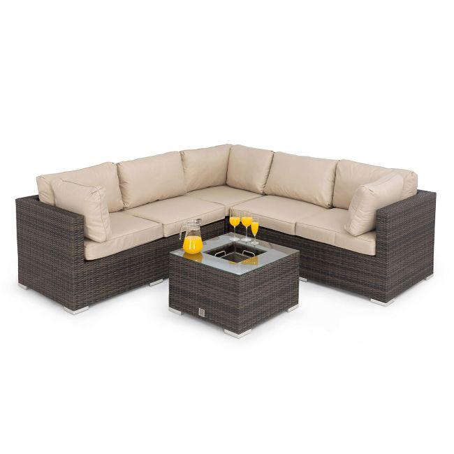 Maze Rattan - Porto Corner Sofa Group - With Ice Bucket - Brown