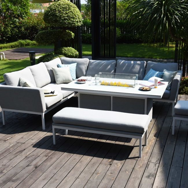 Maze Lounge - Outdoor Fabric Pulse Rectangular Corner Dining Set - With Fire pit Table - Lead Chine