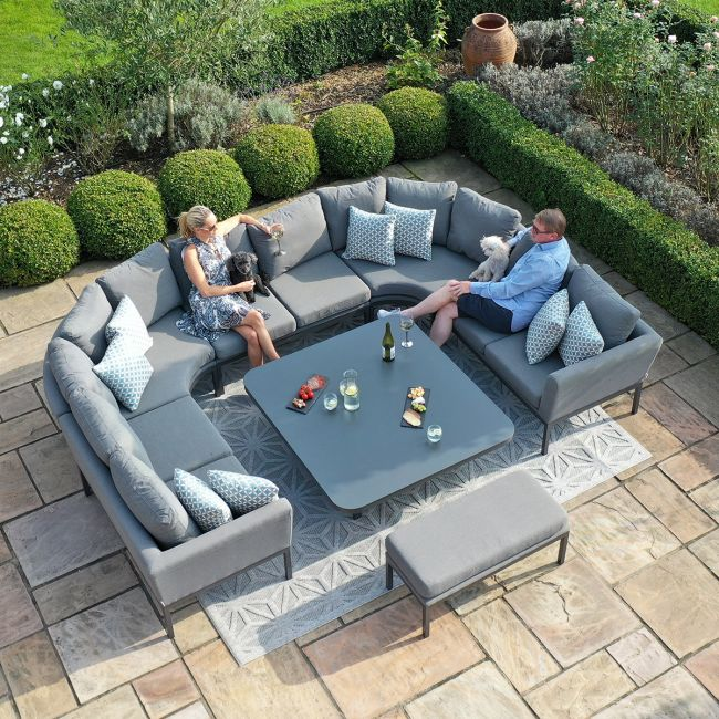 Maze Lounge - Outdoor Fabric Pulse U Shape Corner Dining Set - With Rising Table - Flanelle