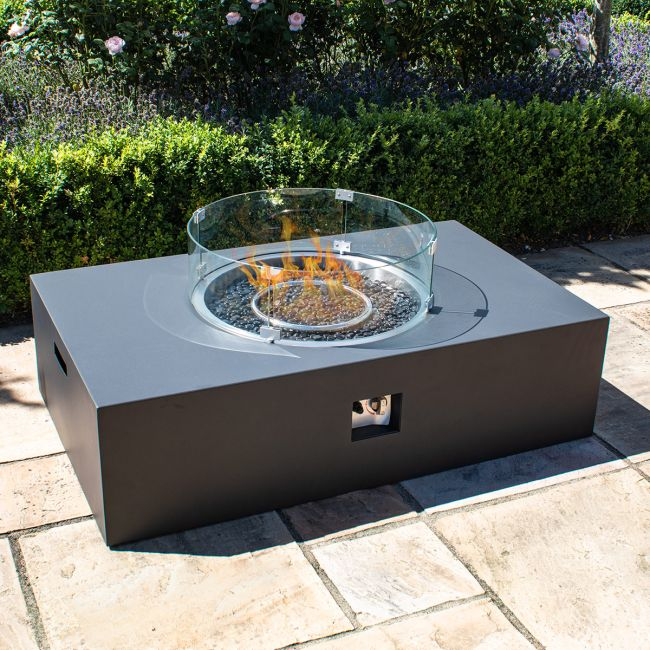 Maze Lounge - Rectangular Gas Fire Pit - Charcoal