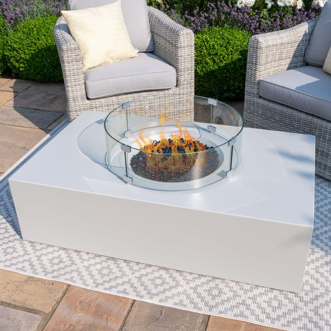 Maze Lounge - Rectangular Gas Fire Pit - Pebble White