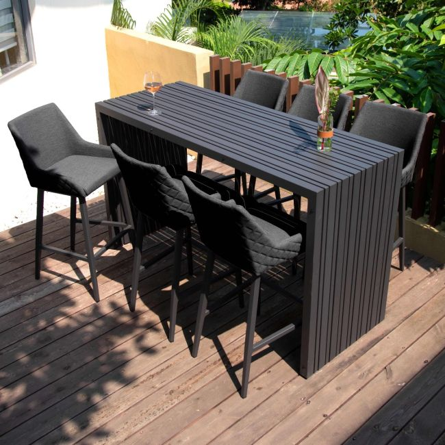Maze Lounge - Outdoor Fabric Regal 6 Seat Rectangular Bar Set - Charcoal