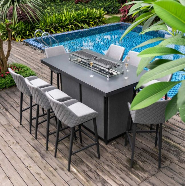Maze Lounge - Outdoor Fabric Regal 8 Seat Rectangular Bar Set - With Fire Pit Table - Flanelle