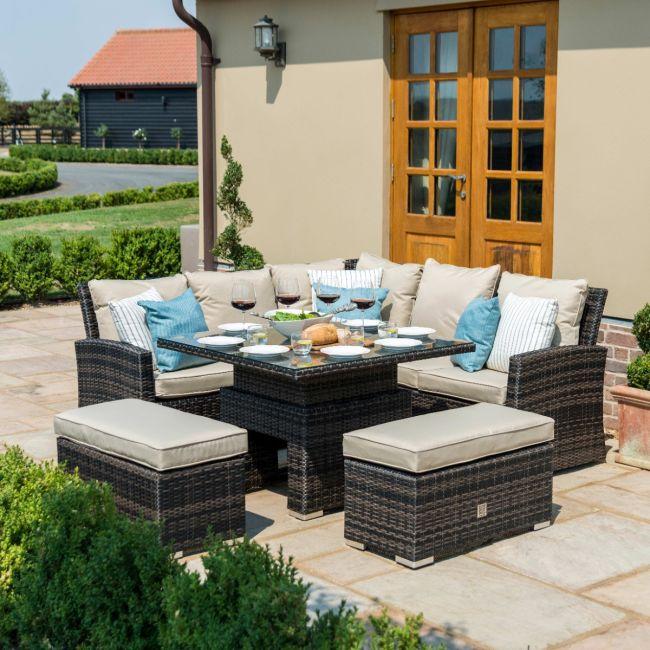 Maze Rattan - Richmond Corner Bench Set - With Rising Table - Brown