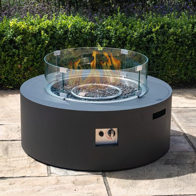 Maze Lounge - Round Gas Fire Pit - Charcoal