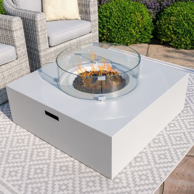 Maze Lounge - Square Gas Fire Pit - Pebble White