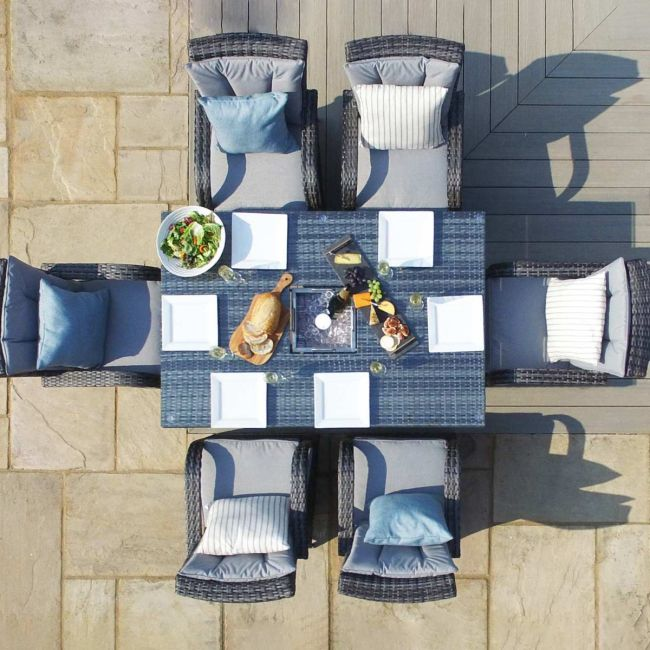 Maze Rattan - Texas 6 Seat Rectangular Dining Set - Ice Bucket - Grey