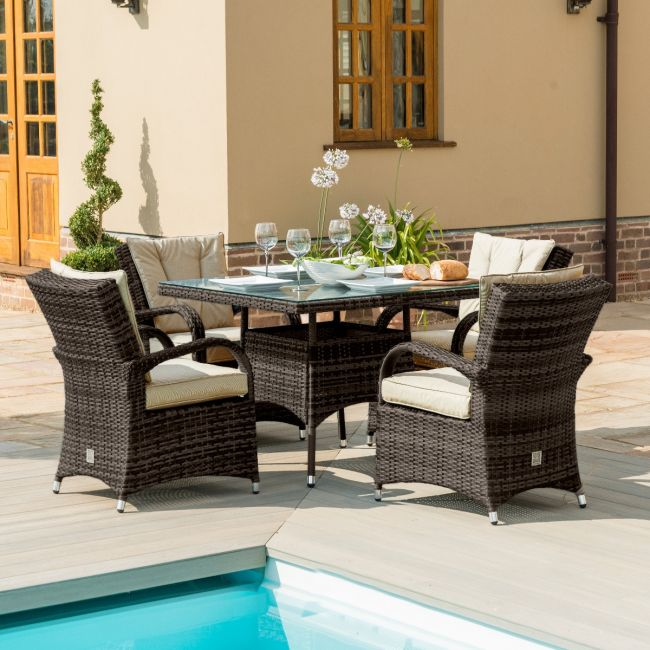 Maze Rattan - Texas 4 Seat Square Dining Set